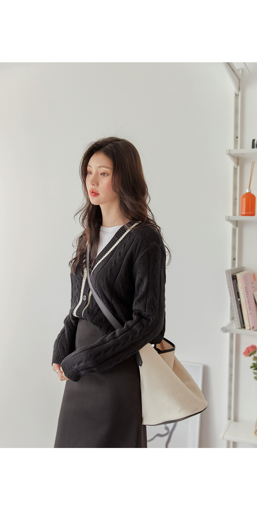 LESS LINE COLORING KNIT CARDIGAN