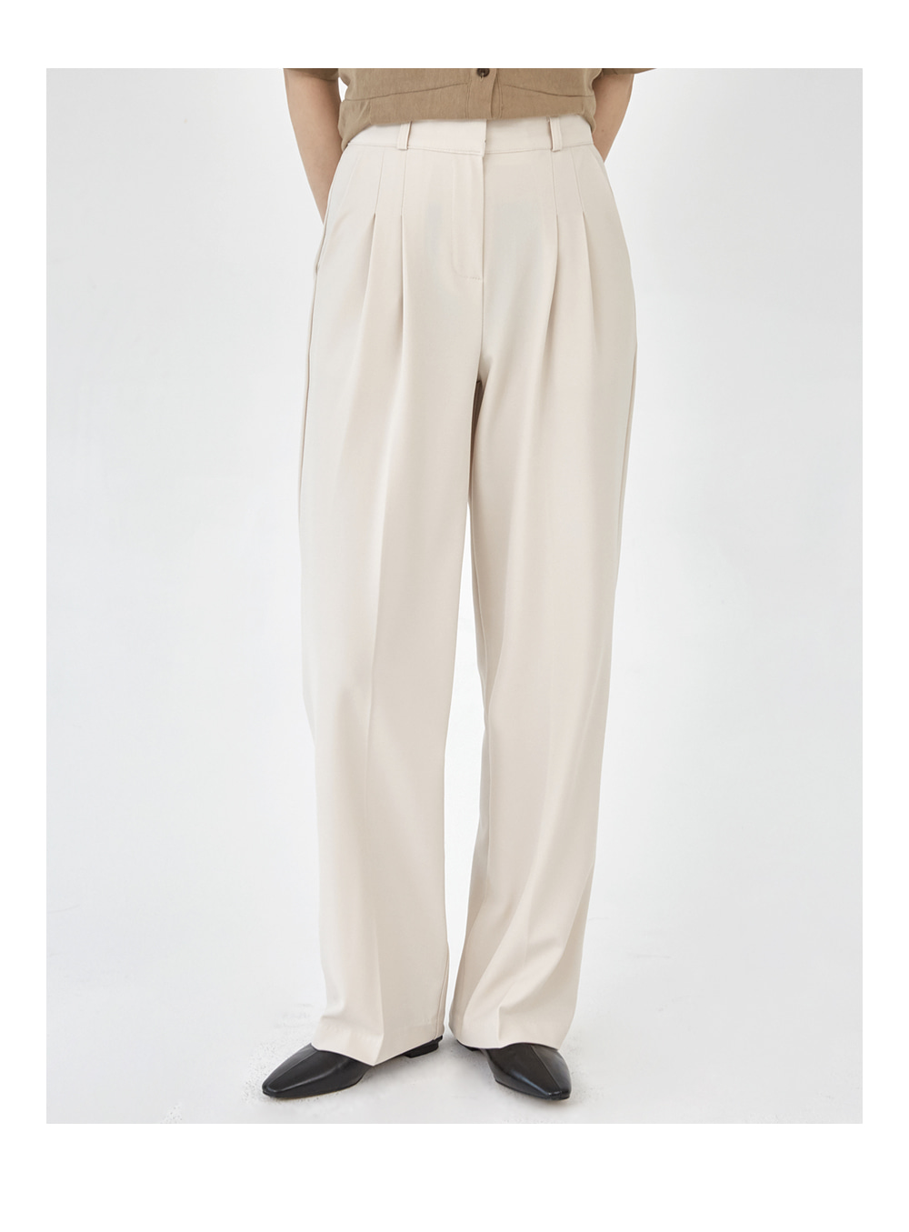 pintuck slim straight fit slacks