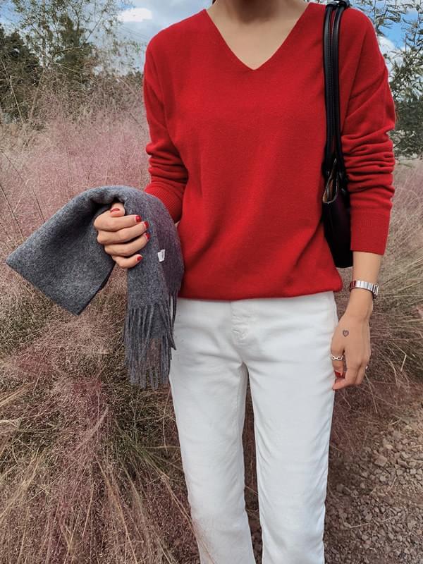 Sander Wool Cash V Neck Knit
