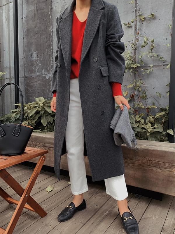 MMMM / dark charcoal double long coat