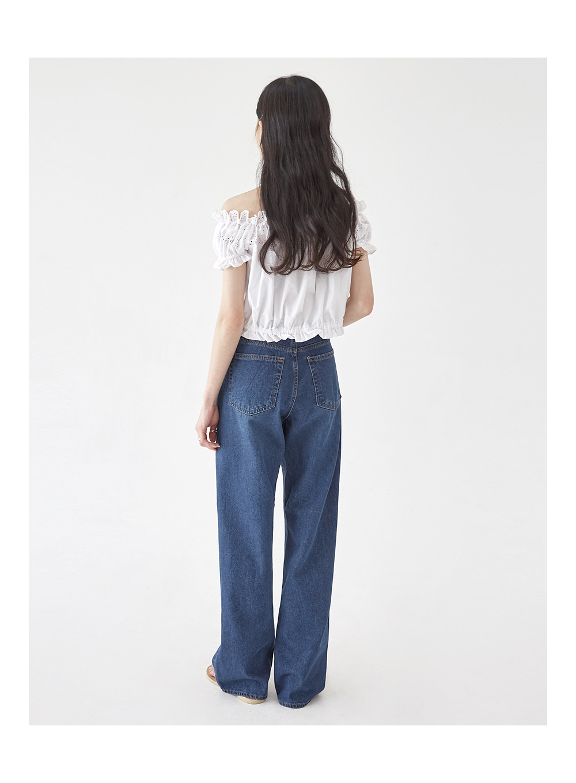 pin wide straight denim pants