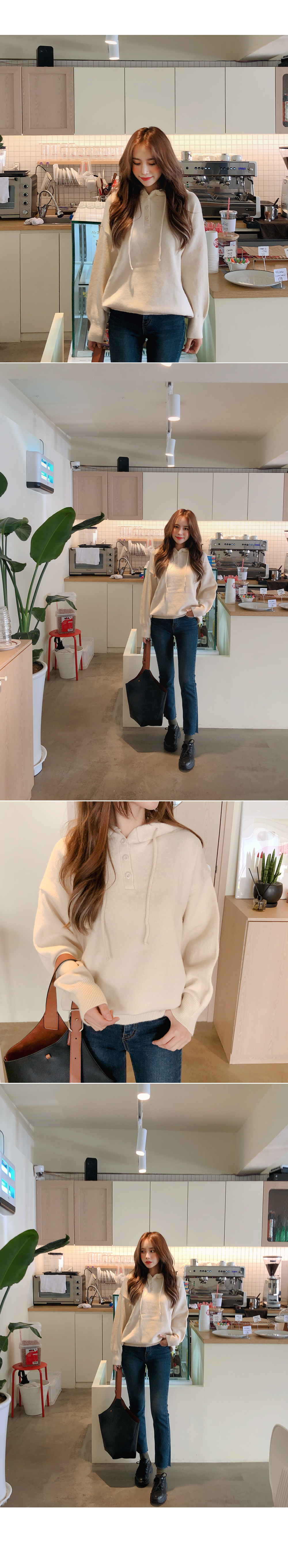 Lovely Button Hood Knit
