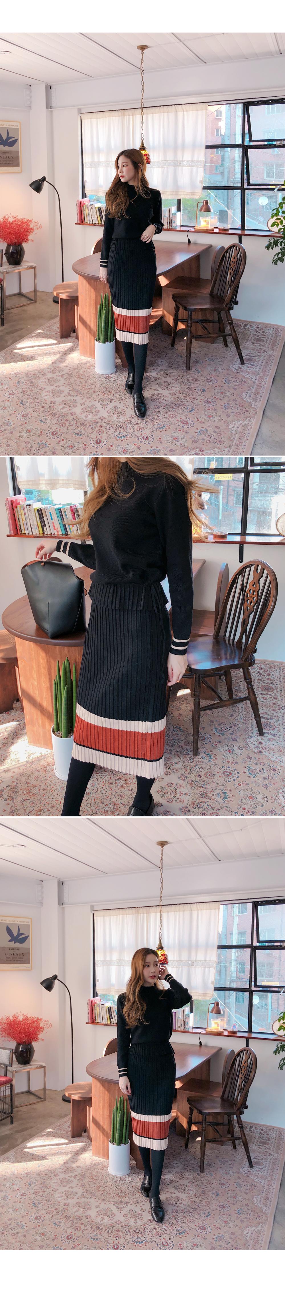 Stylish detail knit + skirt SET