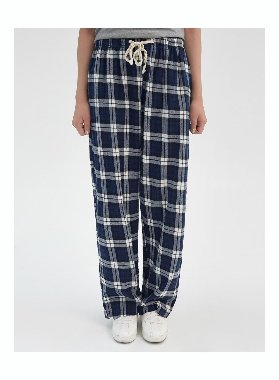 casual check banding pants