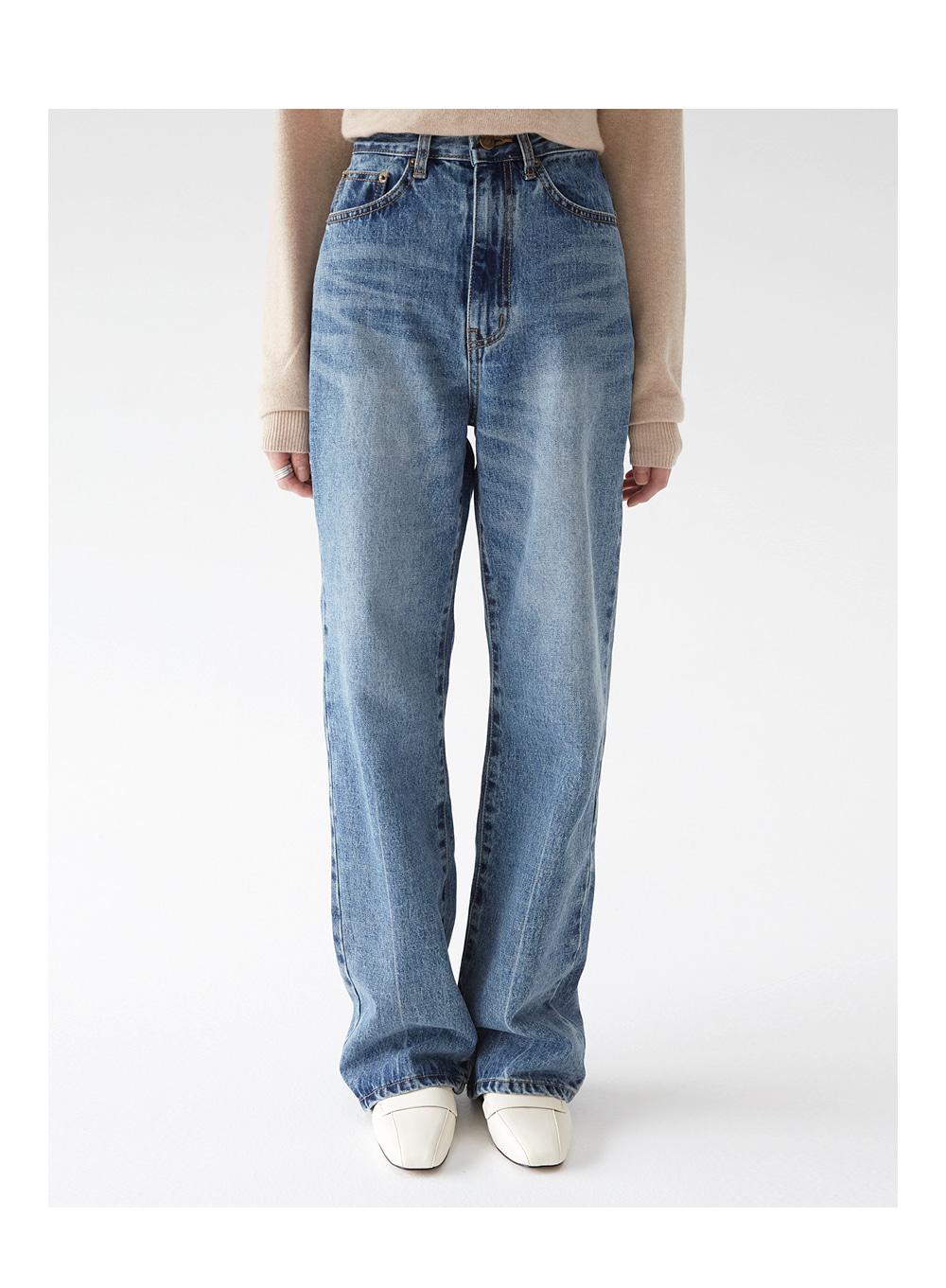 wide washing denim pants