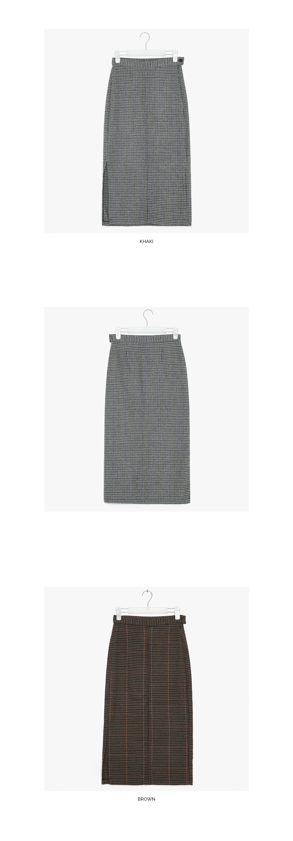 warm check long skirts