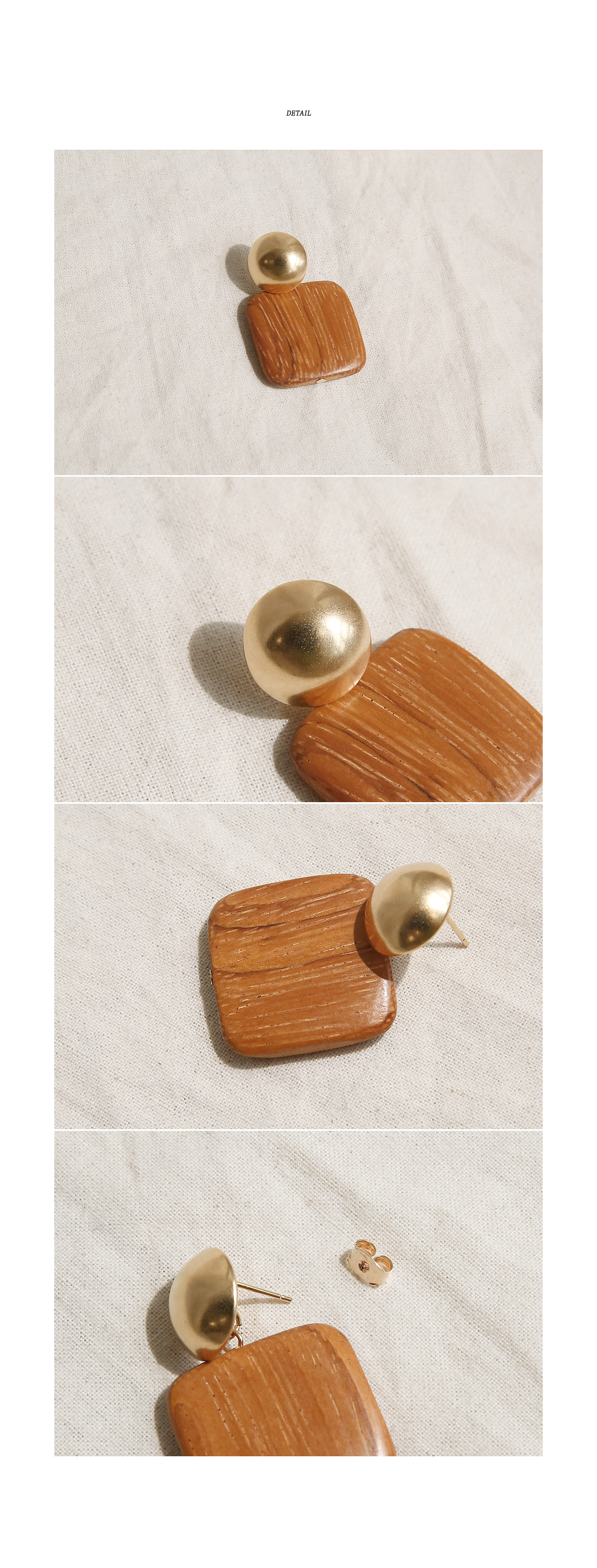 CARBON WOOD DROP EARRING