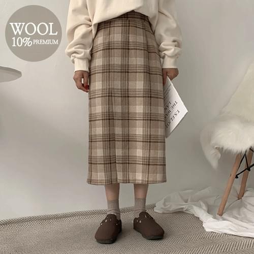 Undercheck Wool Long Skirt