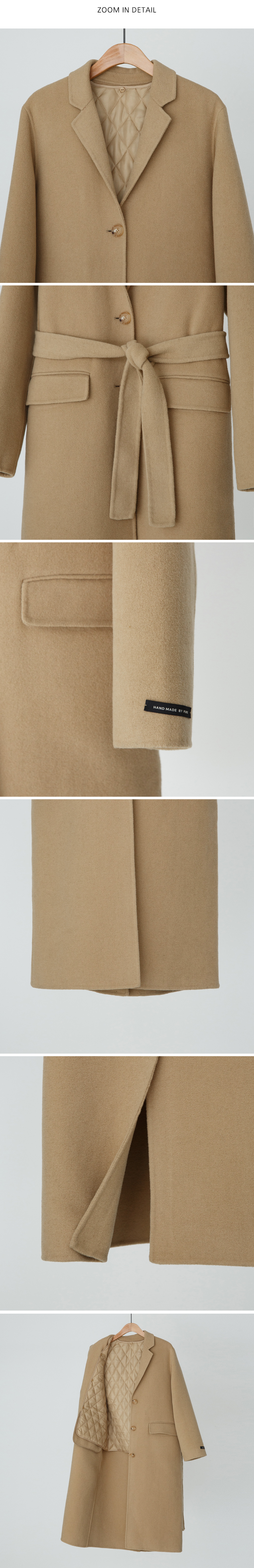 Quilted lining single wool coat-