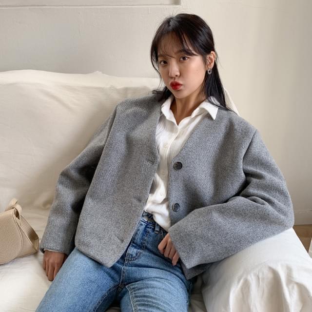 Basic fit nokara wool jacket-jk