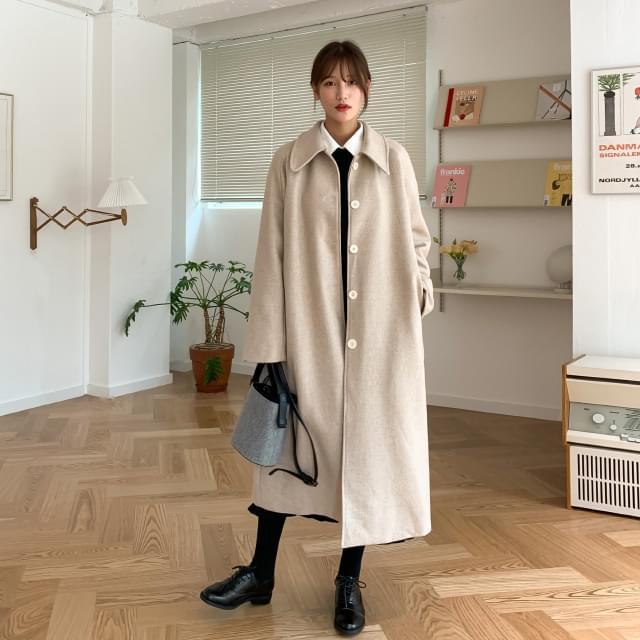 Strap Single Button Wool Coat-ct