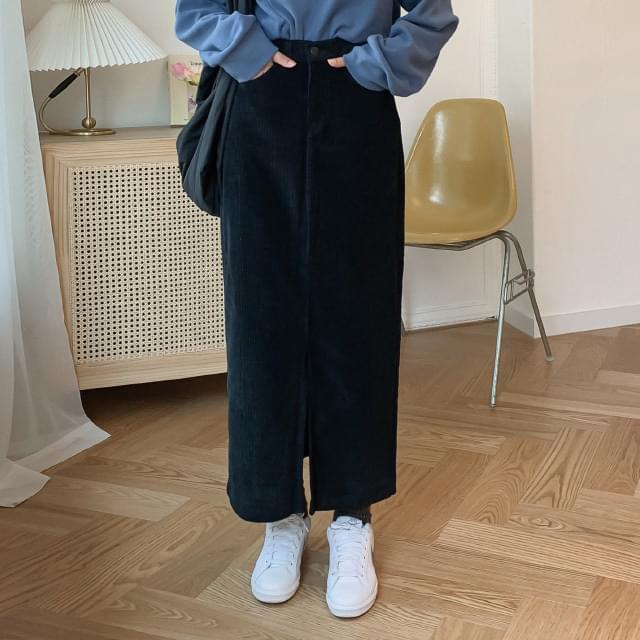 Front corduroy long skirt
