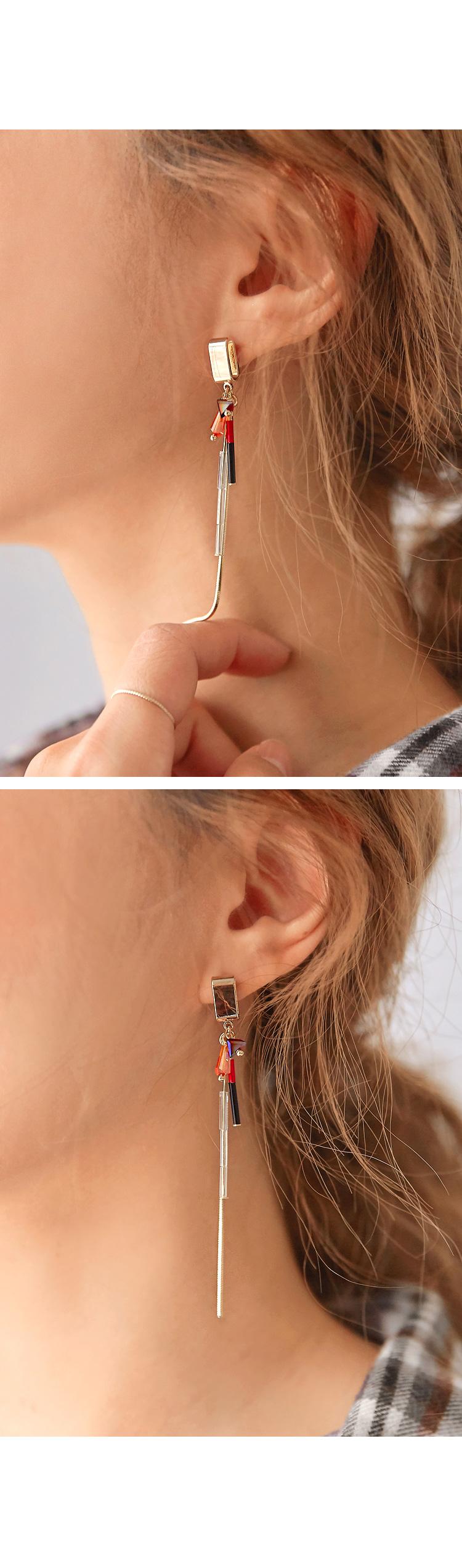 FUSE BEADS UNBAL DROP EARRING