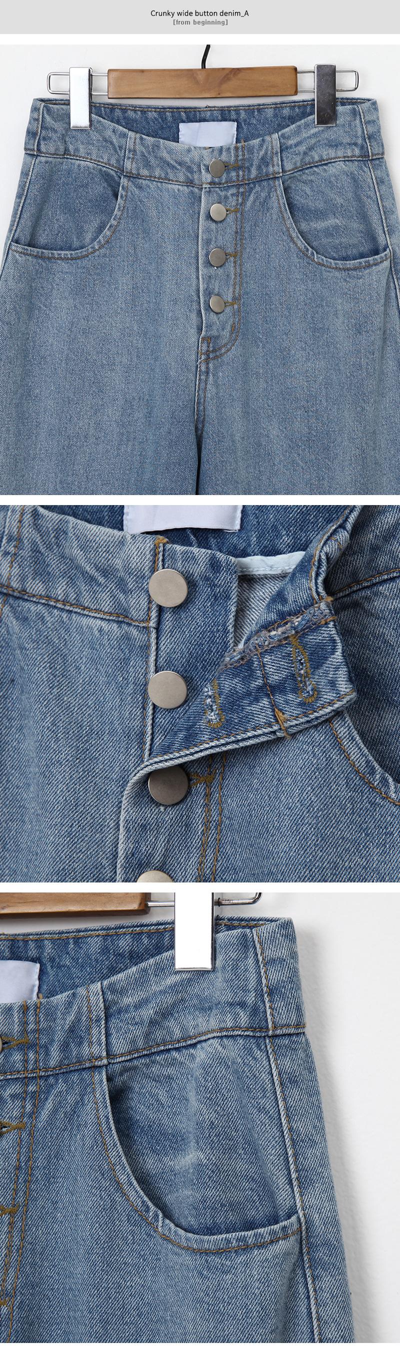 Crunky wide button denim_A