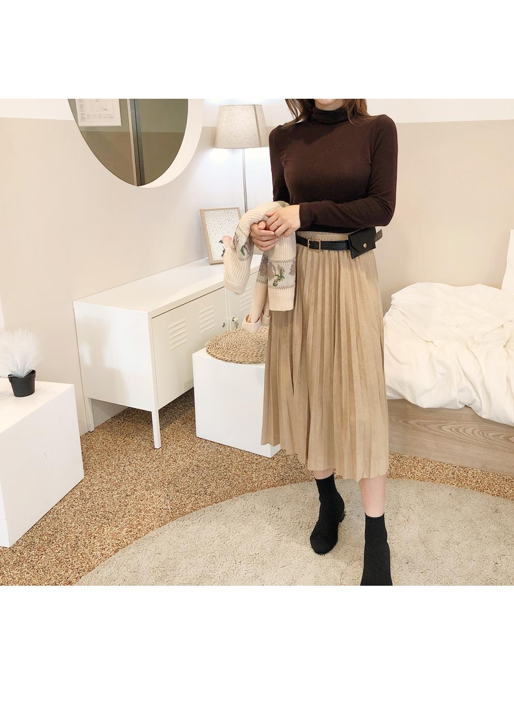 Flared pleated skirt + hips back belt SET