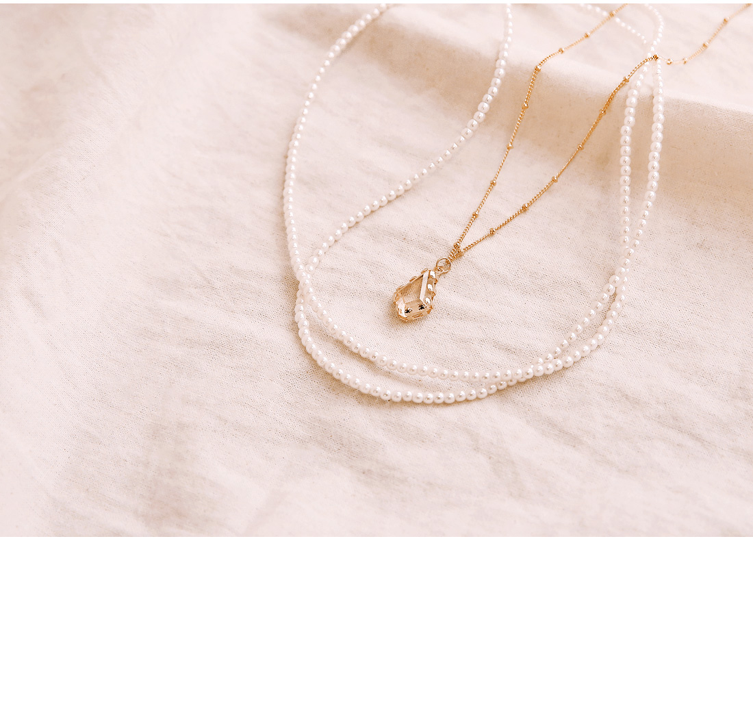 CRYSTAL PEARL LAYERED NECKLACE