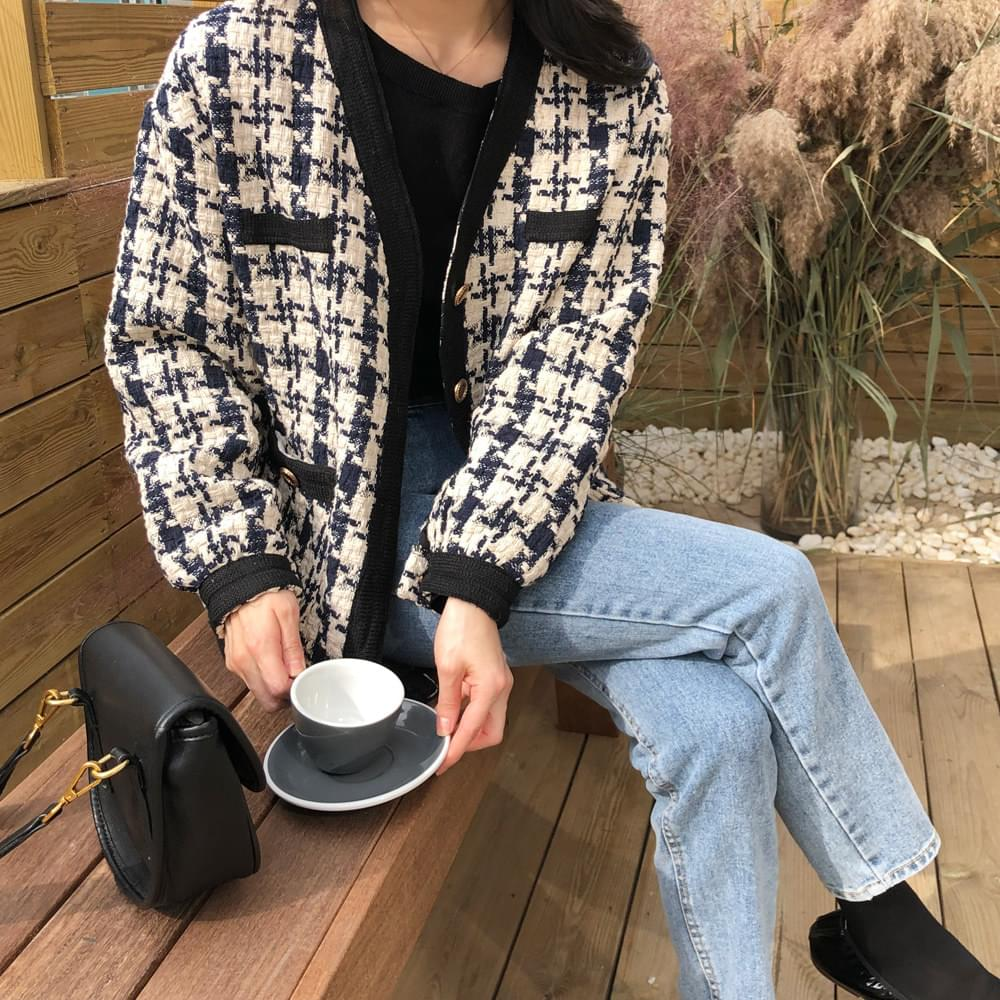 Gold Button Check Jacket