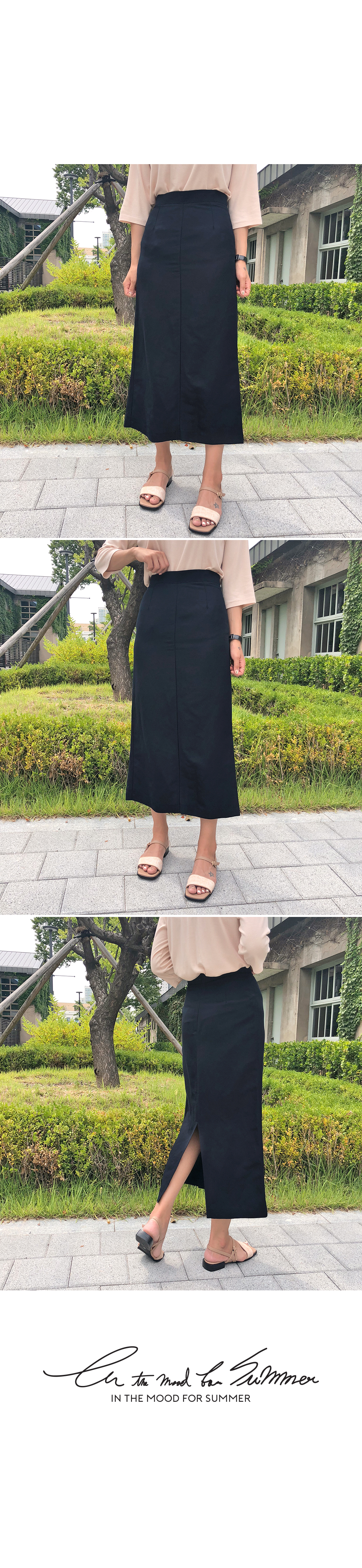 Sleek-linen long skirt