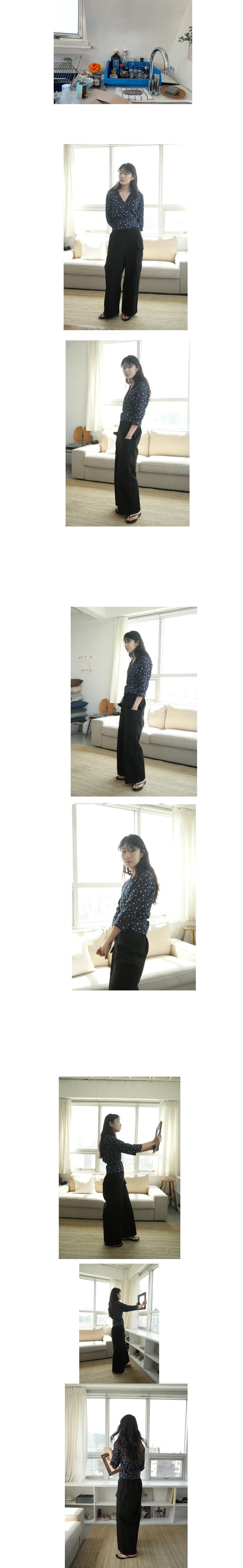 flower pattern wrap blouse