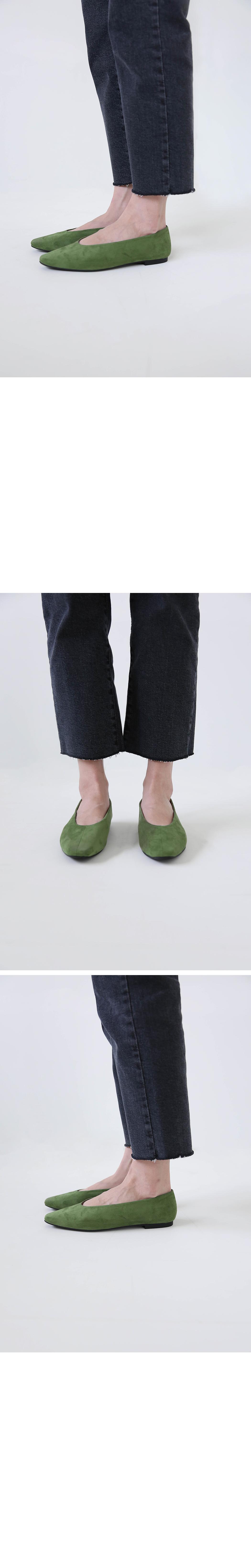 Color suede flat shoes