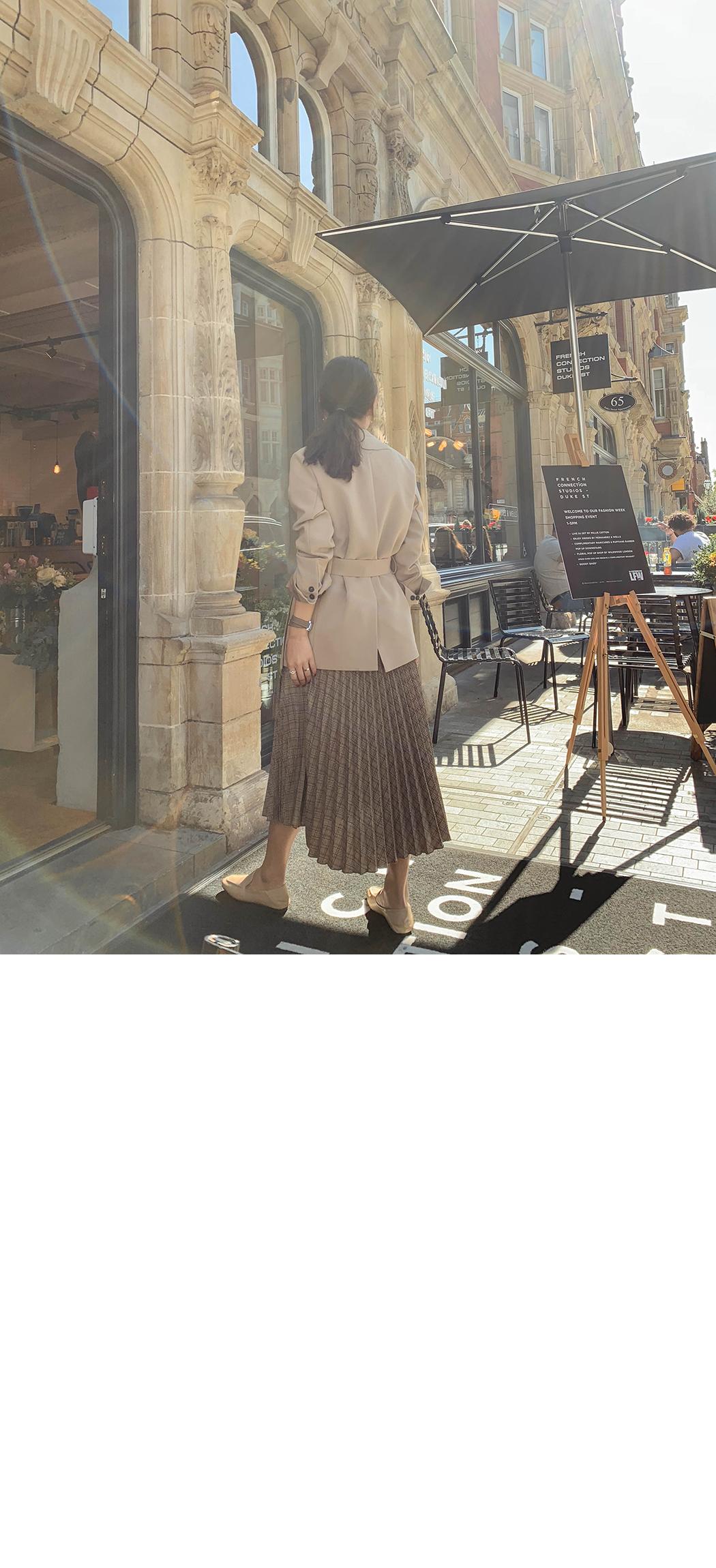 Glencheck pleated skirt