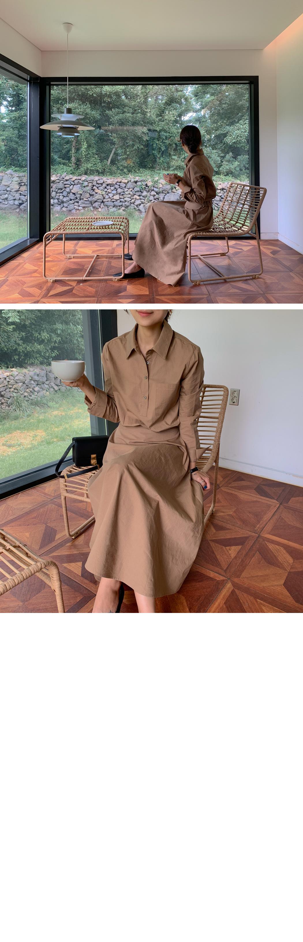 Modern Shirt Flare Long Dress