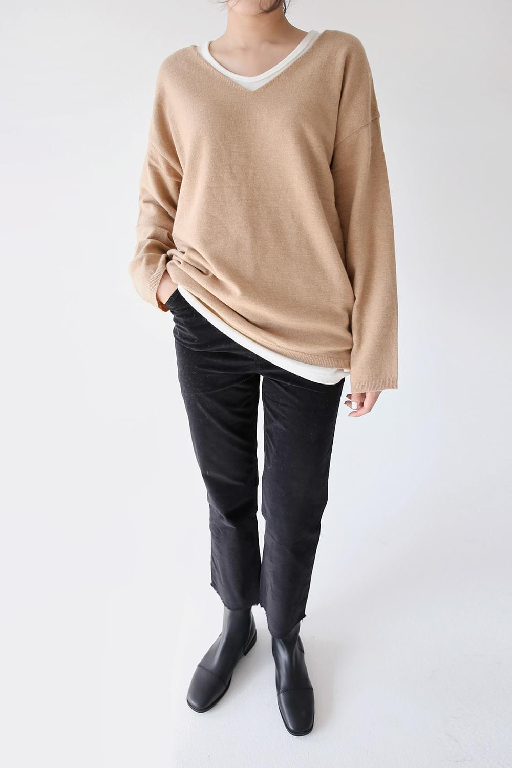 v neck cashmere top (4colors)