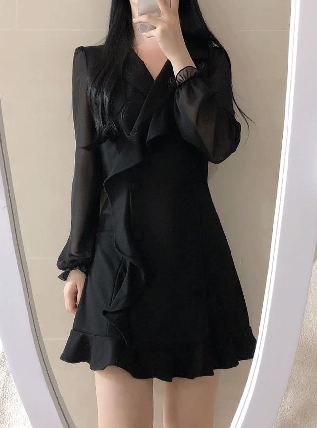 Sweat Double Ruffle Jacket Dress