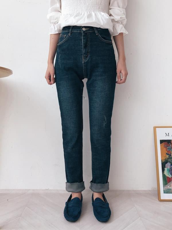 High washed slim straight denim pants