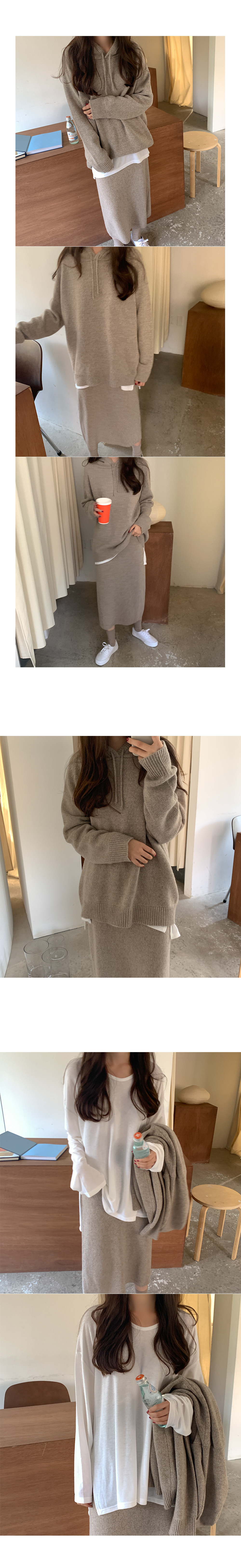Rolled wool hooded knit