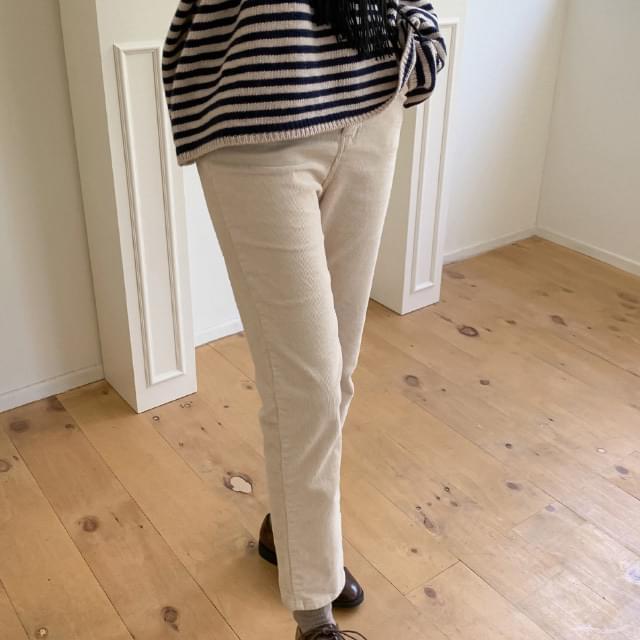 High-waist span corduroy pants