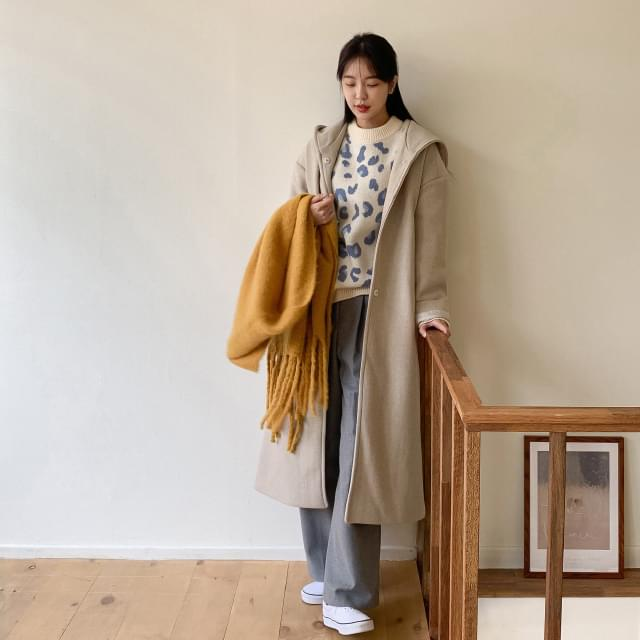 Daily backed hooded wool coat-ct