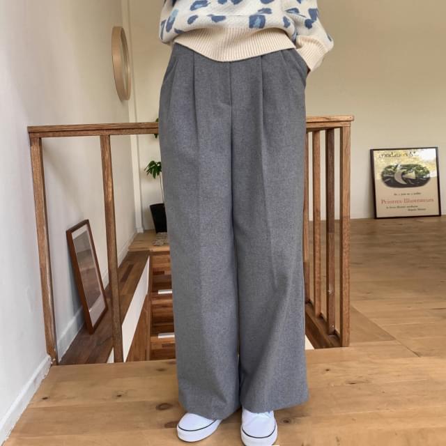 Pintuck Wide Wool Slacks-pt