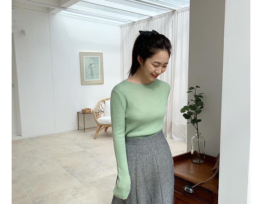 Glossy slim alpaca knit_C  (size : free)