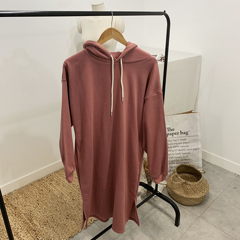 Cream brushed hooded long dress