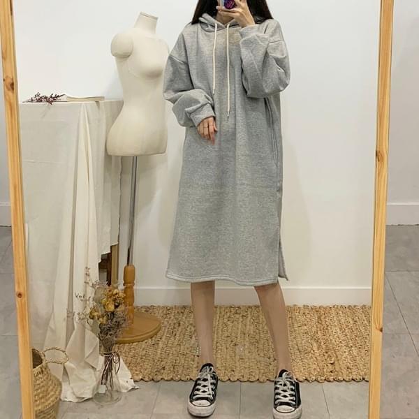 Cream brushed hooded long dress