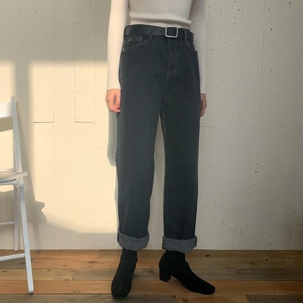 Folder brushed wide pants