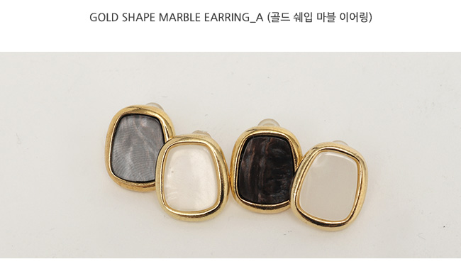 Gold shape marble earring_A