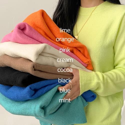 Cloud Color Round Knit