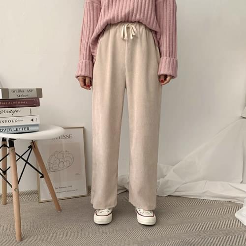 Corduroy banding wide pants