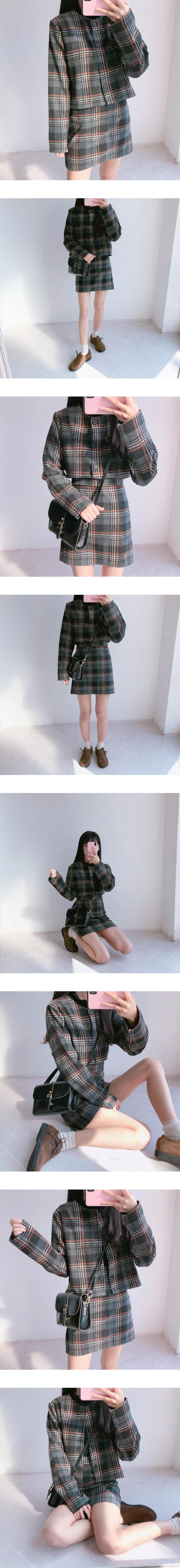 Momo check skirt