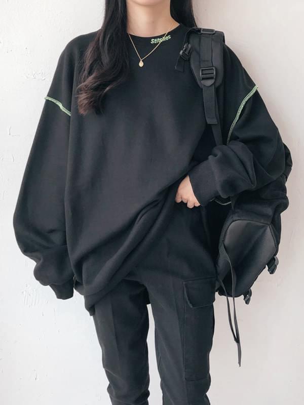 Stitch-embroidered man-to-man t-shirt 長袖上衣