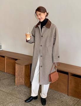 韓國空運 - Corduroy Color Loose Fit Long Coat 大衣外套