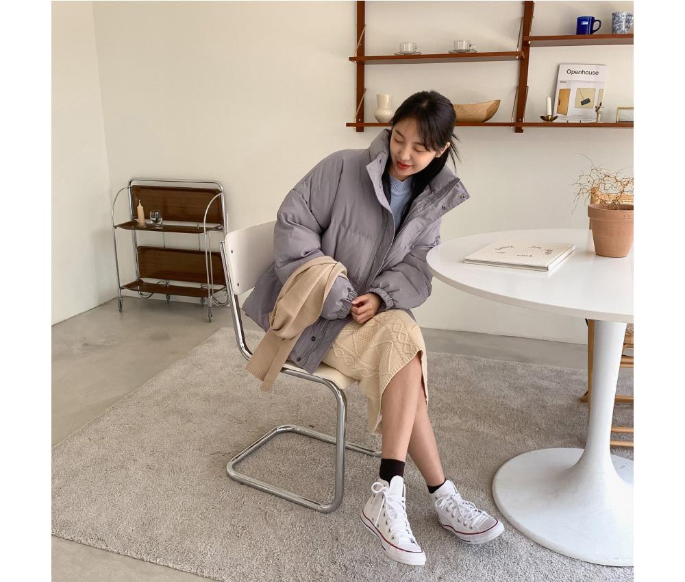 Twist Pattern Wool Knit Skirt-sk