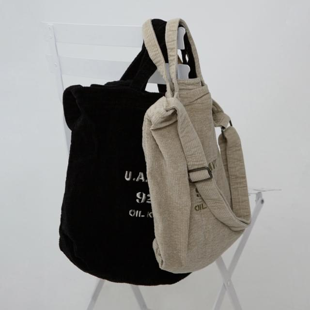 Embroidered Corduroy Casual Bag