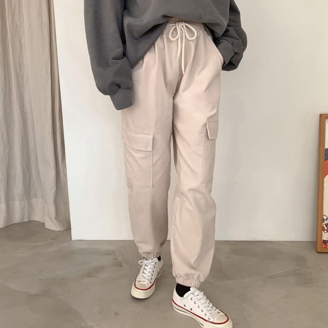 Corduroy cargo jogger pants