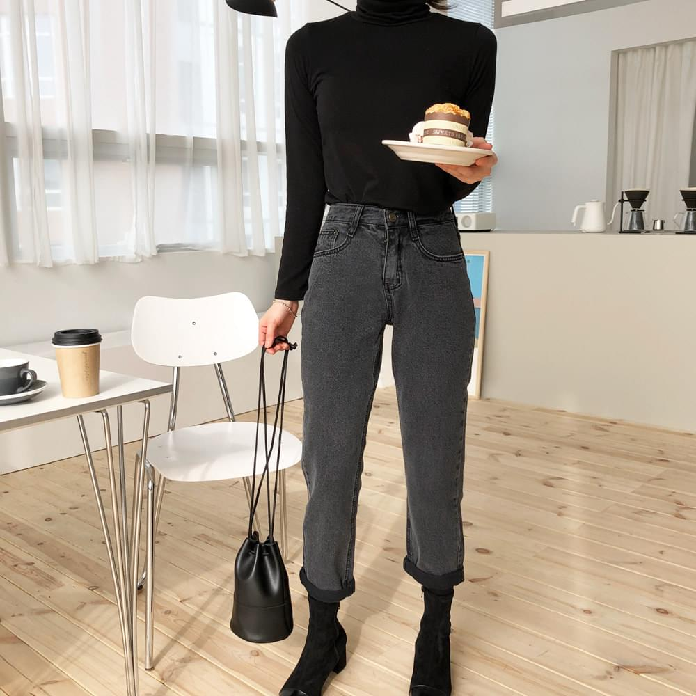 Black Denim straight pants
