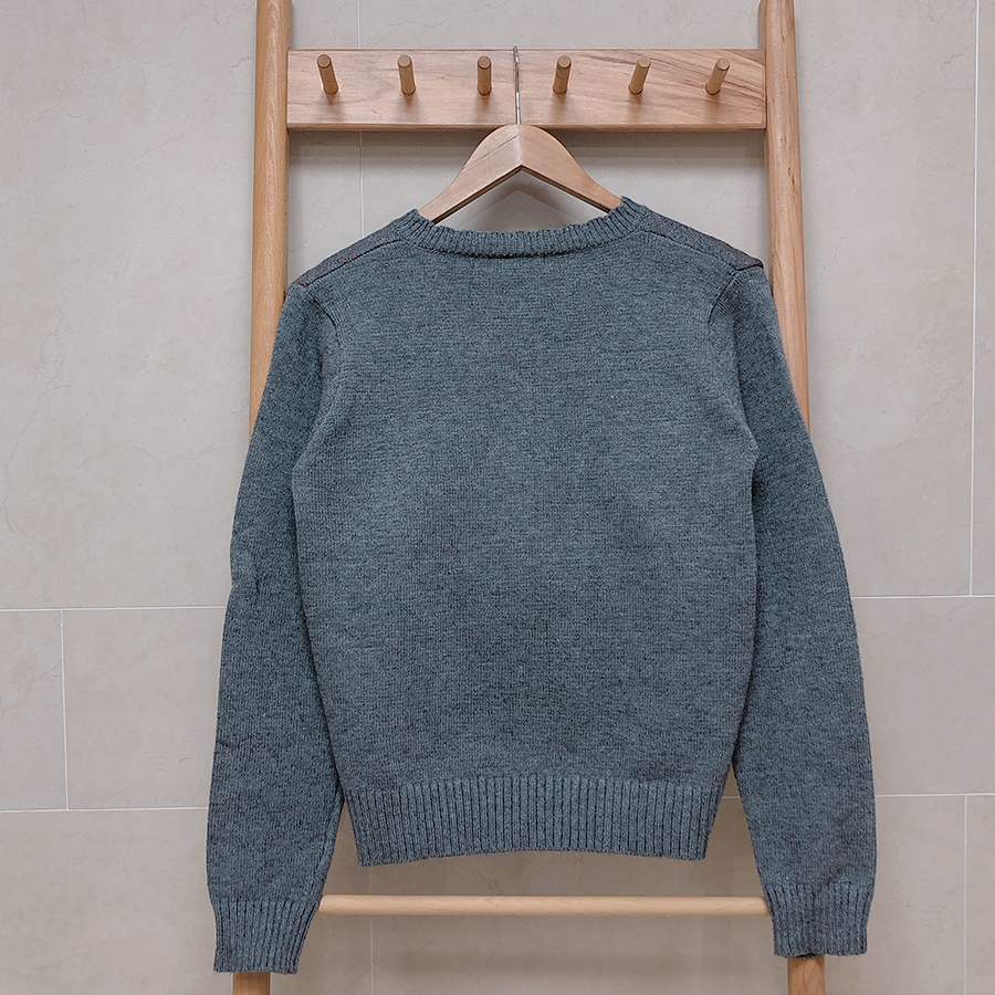 Lamb wool cherry wavy knit cardigan