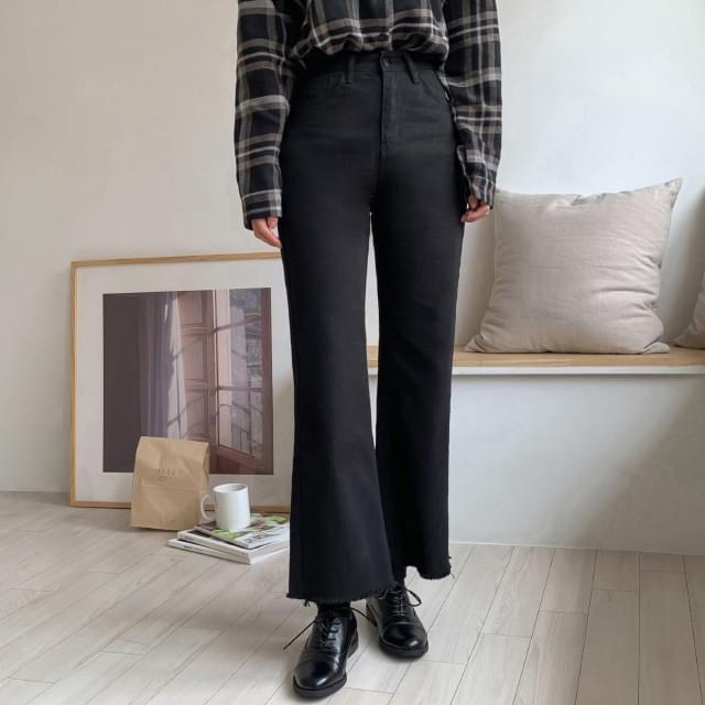 Brushed bootcut cotton pants