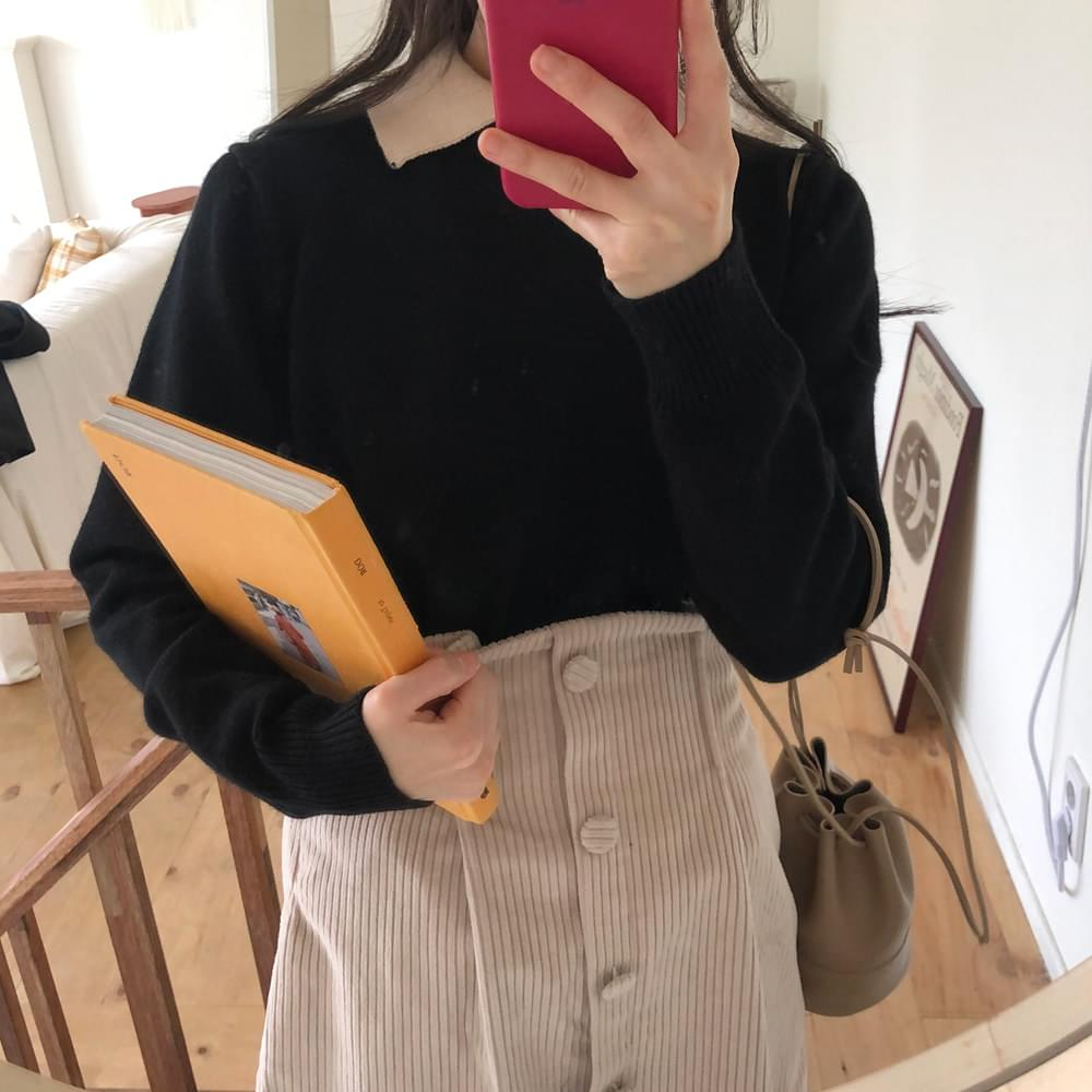 Color collar neck knit